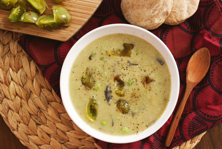 End of Summer Corn and Edamame Chowder with Blistered Green Tomatoes