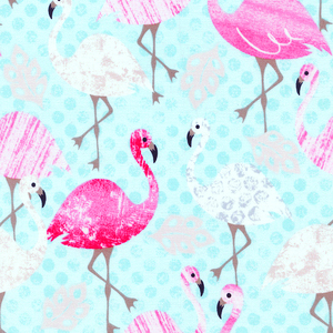 Pink Flamingos in Aqua