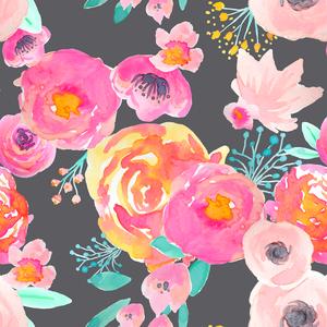 Blushing Floral in Fuscia/Grey