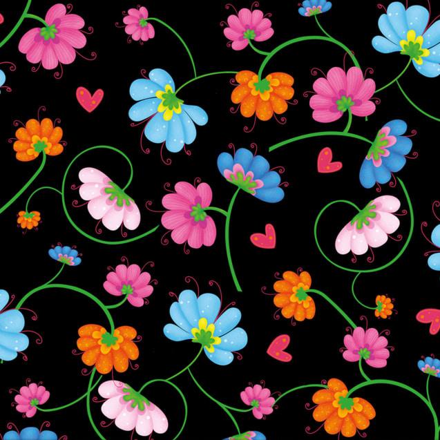Busy Bee Flowers in Black