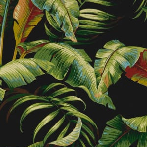 Palmiers Verde in Black - 100% Polyester