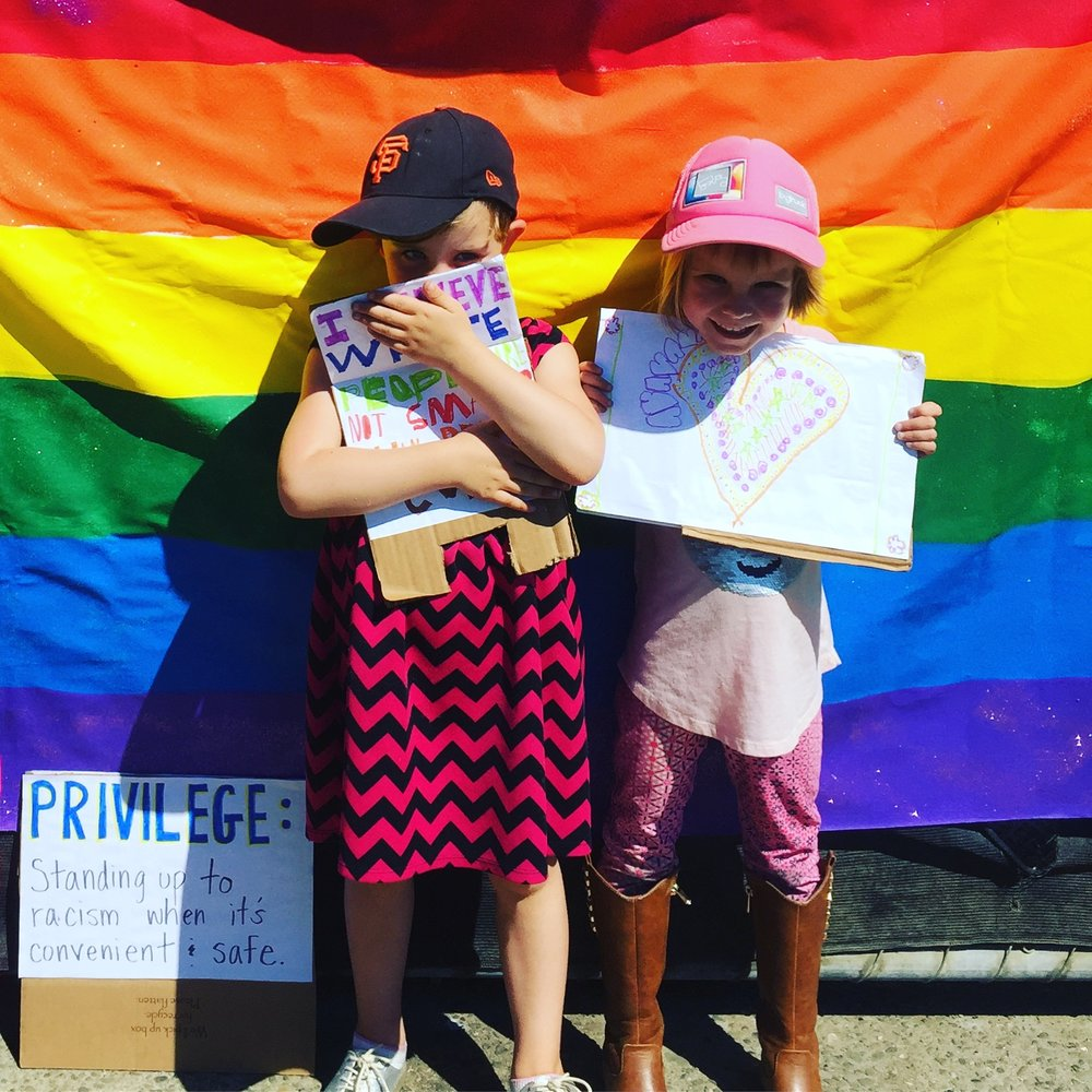 My kids, participating in local protests this past weekend in the San Francisco Bay Area.