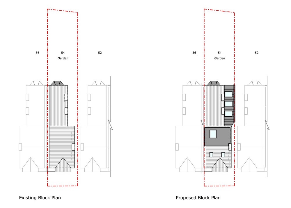 Existing and Proposed Roof Plans
