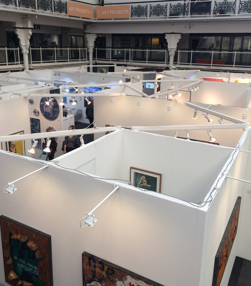 A view from above just one corner of the maze of gallery stands at the Art Fair 2019