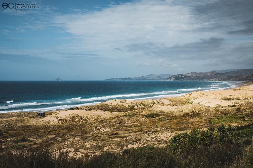 Elevated view looking towards Motu O Kura (Bare Island)