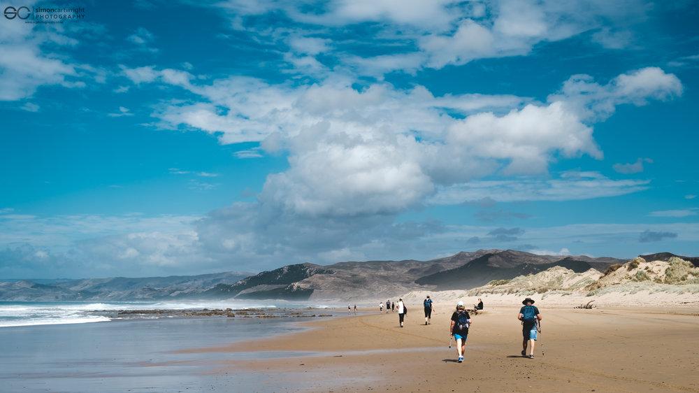 The walk back along the beach