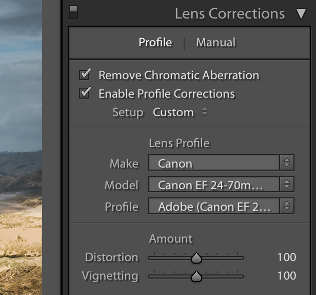 Lightroom Lens Correction Panel