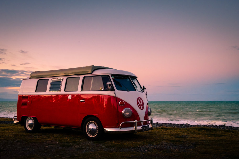 1966 VW Camper at sunset on Friday night