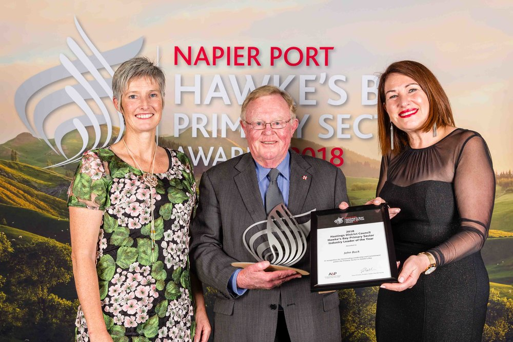 Hastings District Council Primary Sector Industry Leader of the year, John Buck. Pictured with Mayor Sandra Hazlehurst and Deputy Mayor Tania Kerr