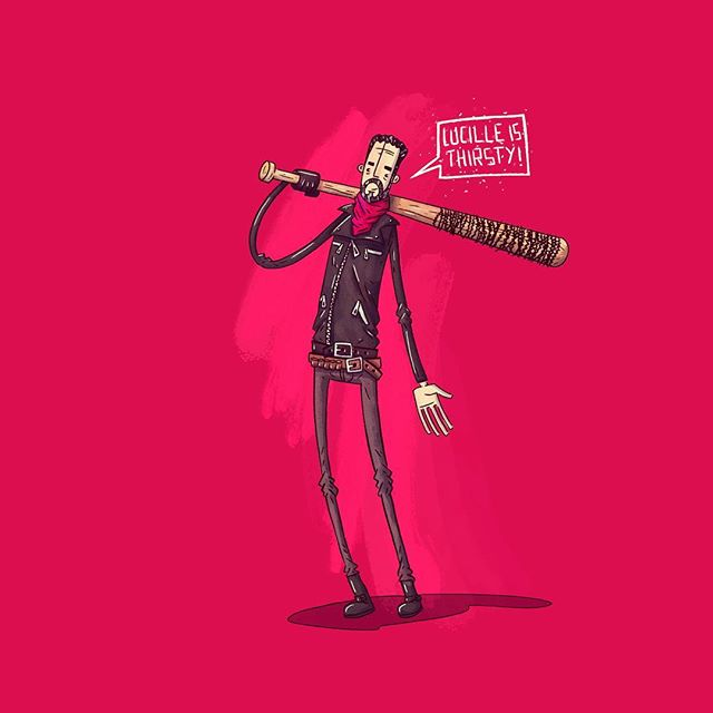 Lucille is thirsty!  #negan #thewalkingdead #lucille #amc @jeffreydeanmorgan . . . . #bewareofartists #drawing #art #artist #sketch #instart #design #instagood #creative #artoftheday #artsy #instartist #gallery #painting #illustration #illustrator #artwork #masterpiece #digitalart #artstagram #artgallery #digitalpainting #color #paper #ink #illustrationoftheday  @vanila.design @dribbble @weloveillustration @folioart
