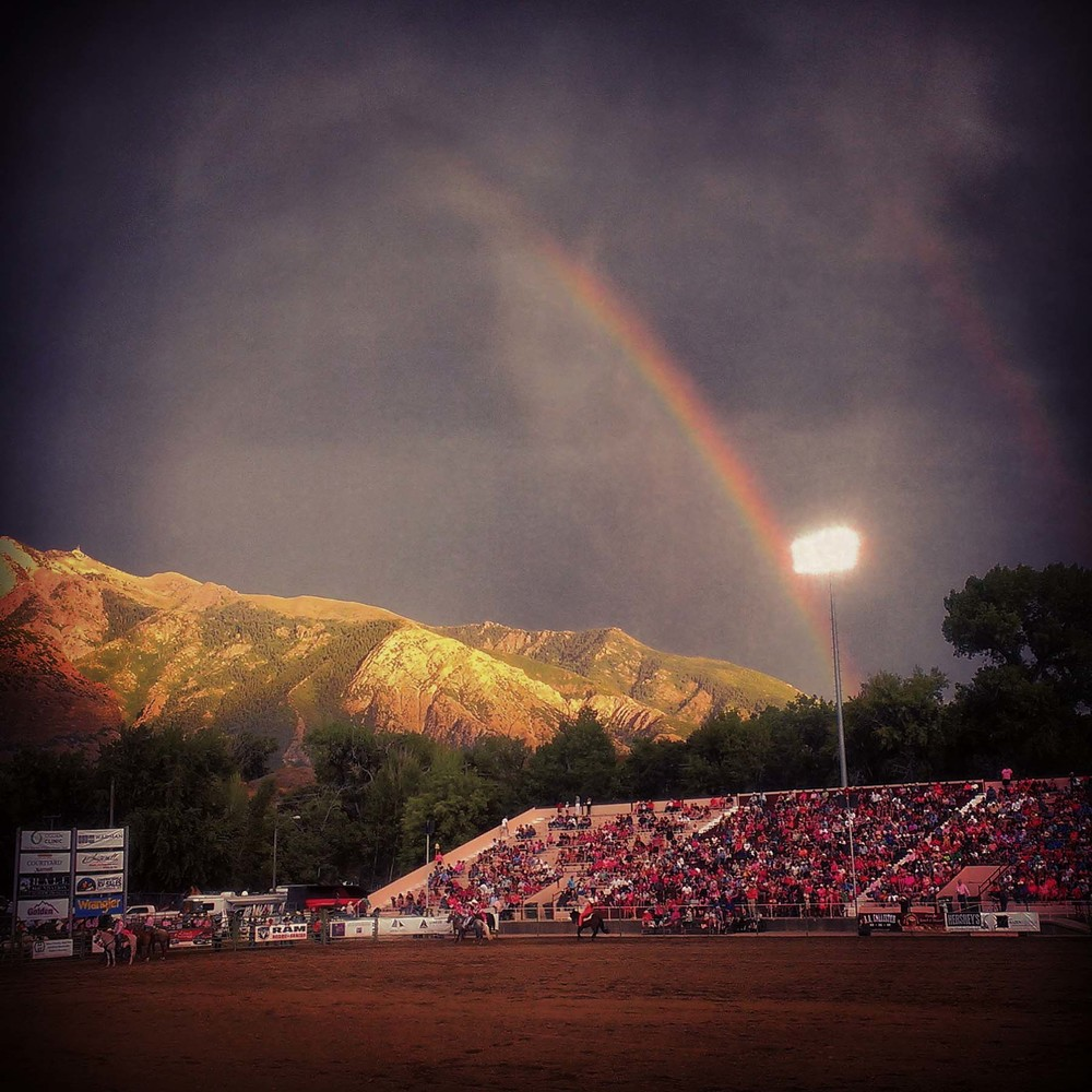Double Rainbow at Pioneer Days Rodeo in Ogden, Utah