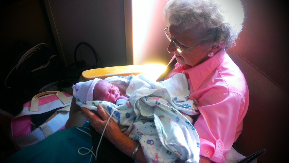 Welcome R. Emerson Long to the Ogden Outdoor Adventure Tribe! Great Grandma Long holding her only Great Grandson.