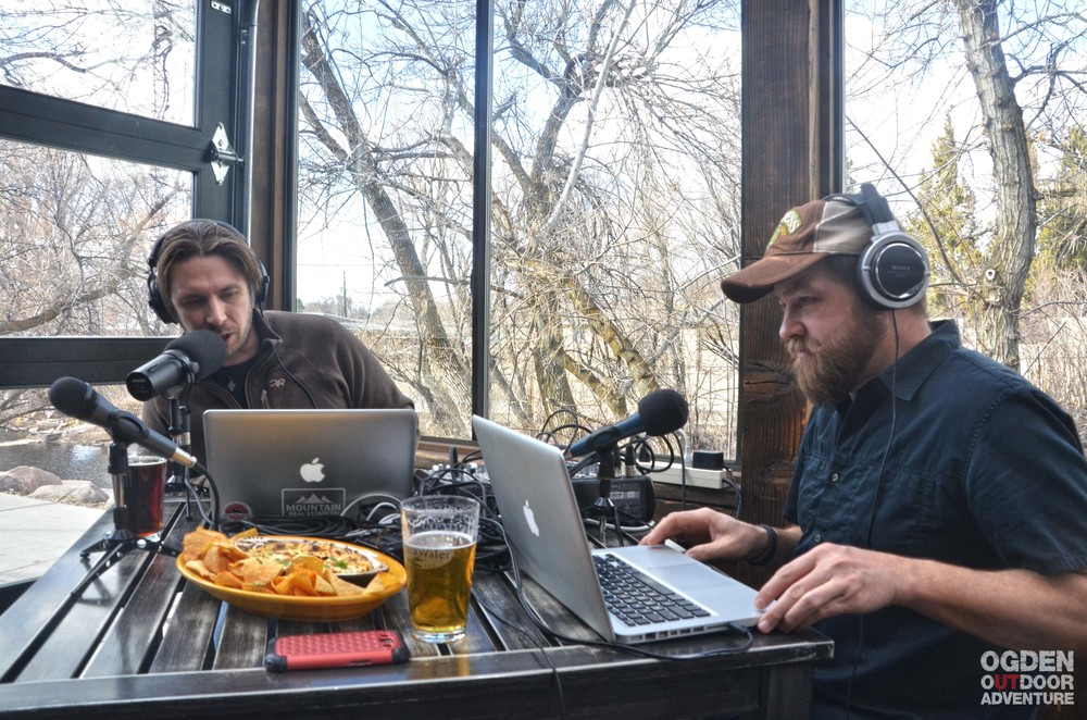 Hosts Brandon Long and Todd to the Top doing their podcast thing at Slackwater!