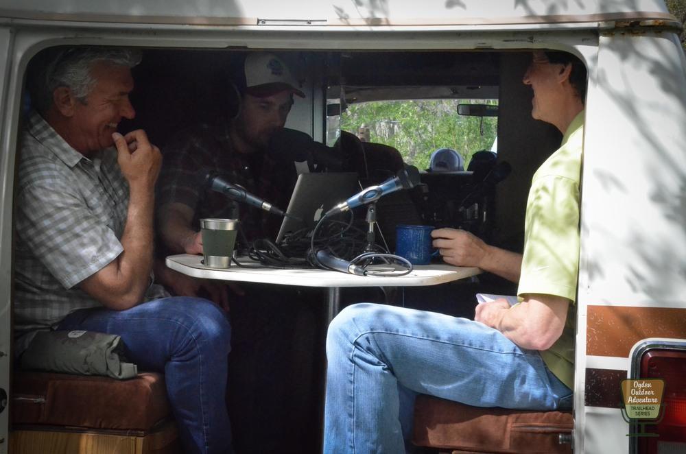 Rod Kramer (left) & Mark Benigini (right) inside #TanVan on the Ogden Outdoor Adventure Show