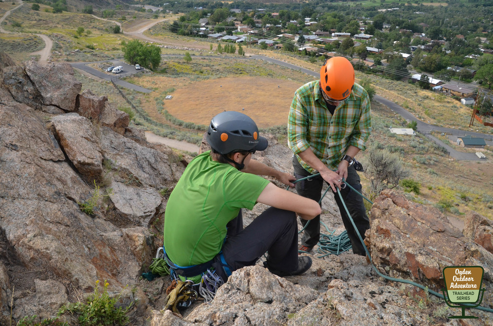 Derek DeBruin with Bear House Mountain Guiding reacquainting us with the ropes atop 9th Street.