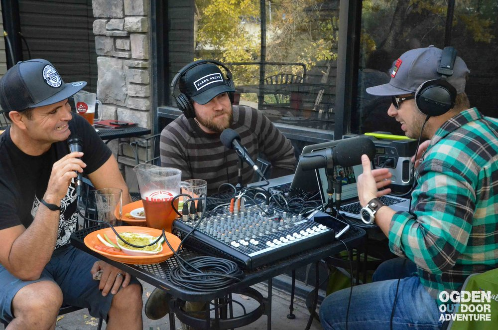 Podcasting outside on the Slackwater Pizzeria patio enjoying Uinta on draft in Ogden, Utah