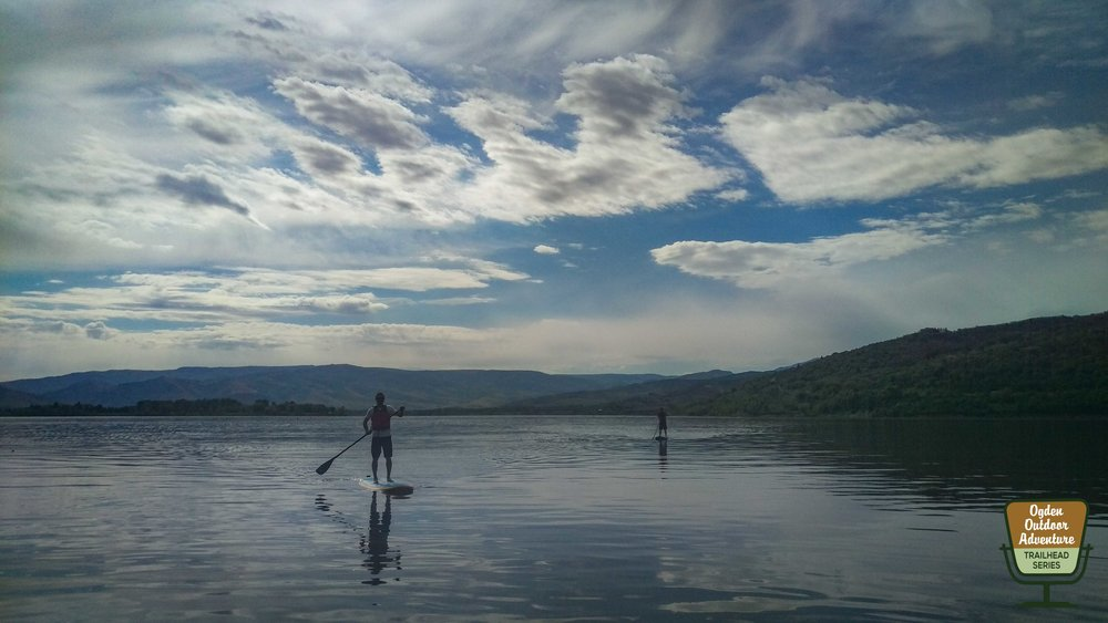 J.T. Robinson (foreground) and Todd to the Top (background) SUP'ing Pineview Reservoir