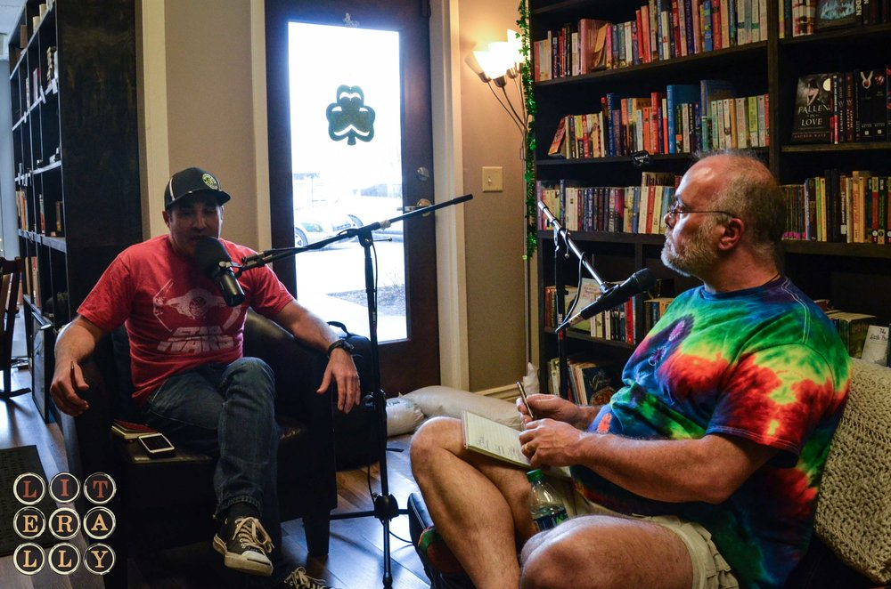 LITerally Host Kase Johnstun with guest author Johnny Worthen at Booked on 25th Street.