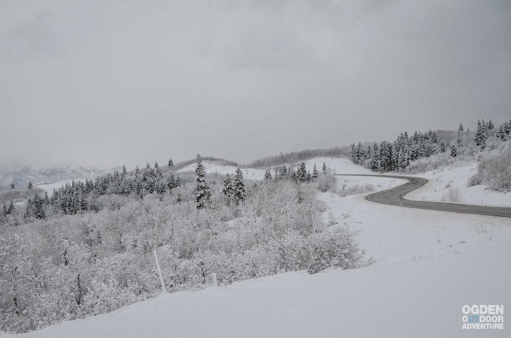 Snowbasin Road after the first good storm of the 2017/18 season.