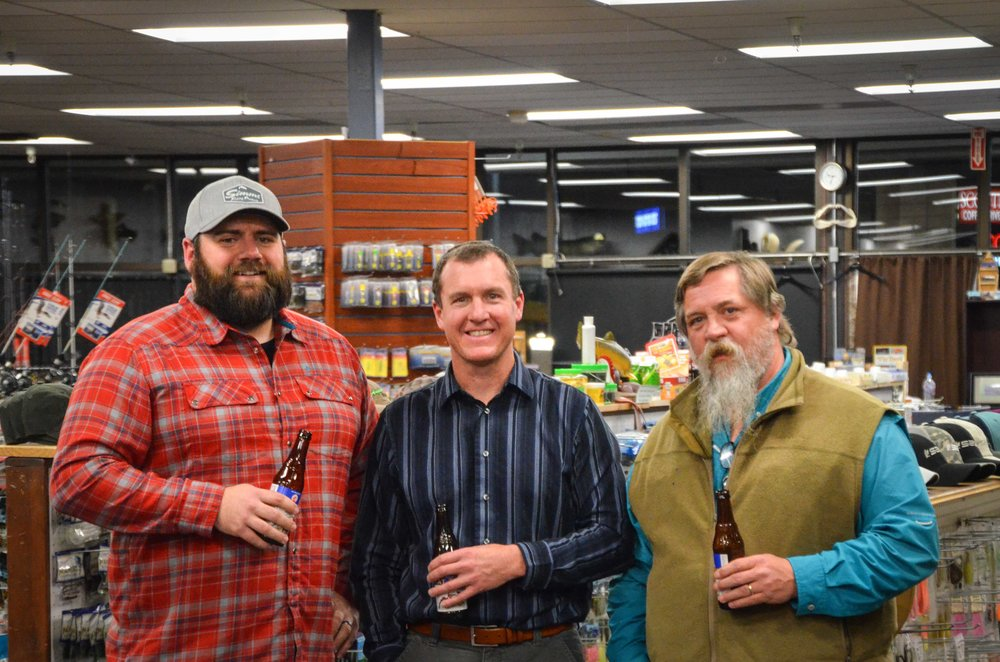 Cole Larsen, Paul Burnett, and James Young at Angler's Den chatting a lil' fly fishing.