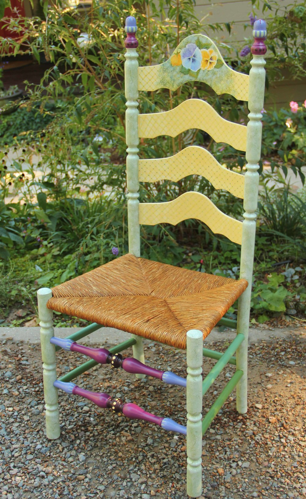 Painted ladder back chairs - Ladder Back Chair With Rush Seat Painted With Pansy Motif