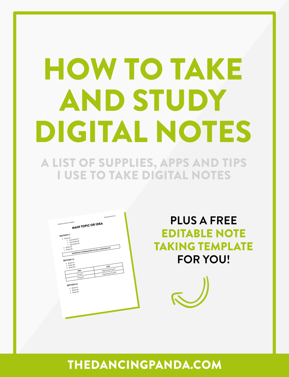 The Ultimate Guide to Taking and Studying Digital Notes (a Handbook for Students) >> thedancingpanda.com