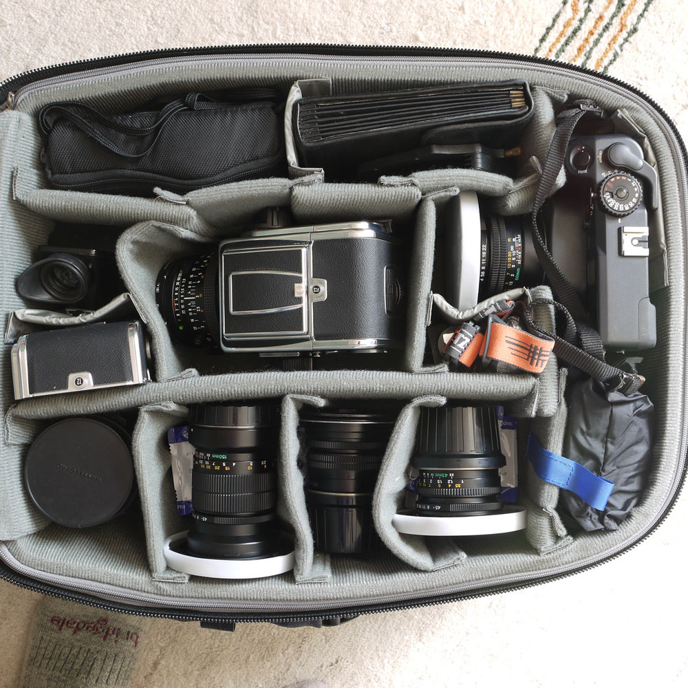This is a typical look at what's inside my Airport International trolley bag.
