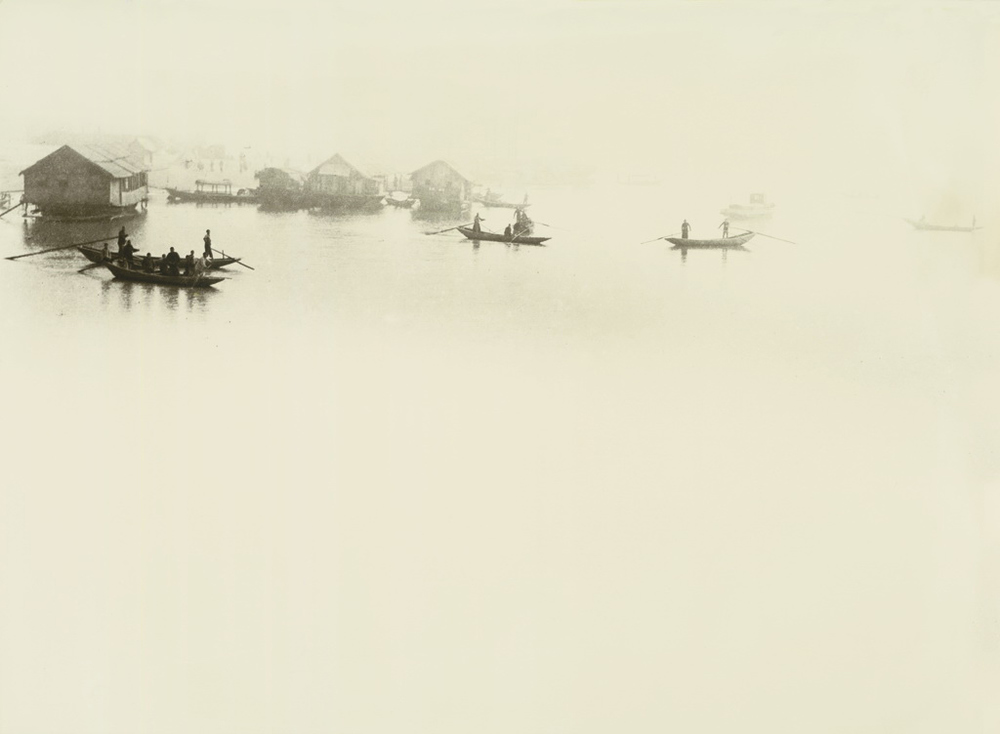Mooring in the Misty River at Night, 1937, photograph by Lang Jingshan