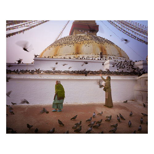 The Boudha stupa at dawn. Many birds frequent the place in the morning during prayers.A more traditional dress sense was evident back in 2009, and seems to be more 'rare' now in 2015.