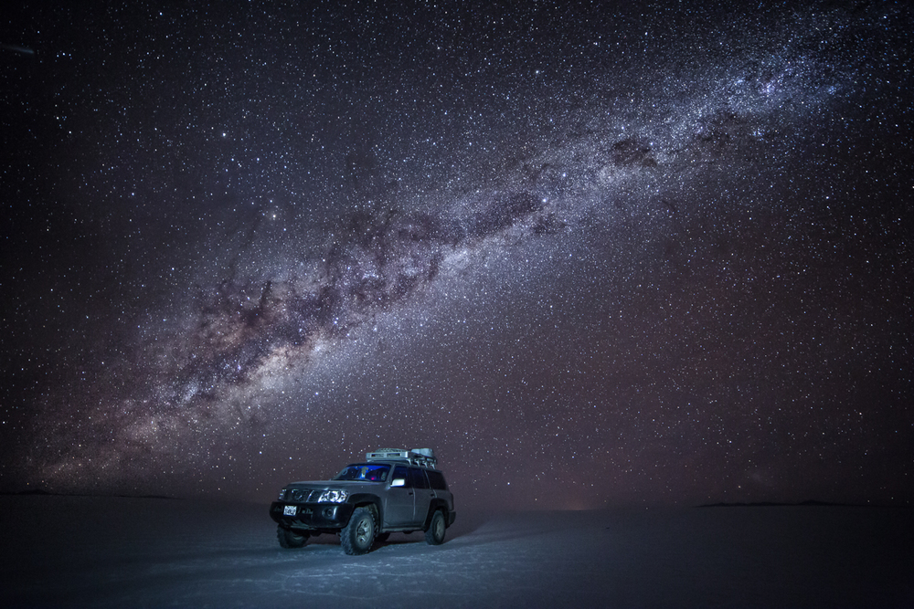 Milky Way & Land Cruiser, Salar de Uyuni, Bolivia © Stacey Williams