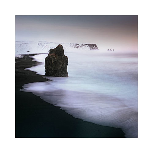View of Reynisdrangar sea stacks from Dyrhólaey, South Iceland, 2012. Image © Bruce Percy