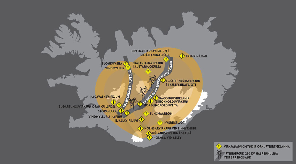 The yellow areas are the central highland region, and the grey and yellow I believe, show where the proposed areas of development such as power plants and power lines.