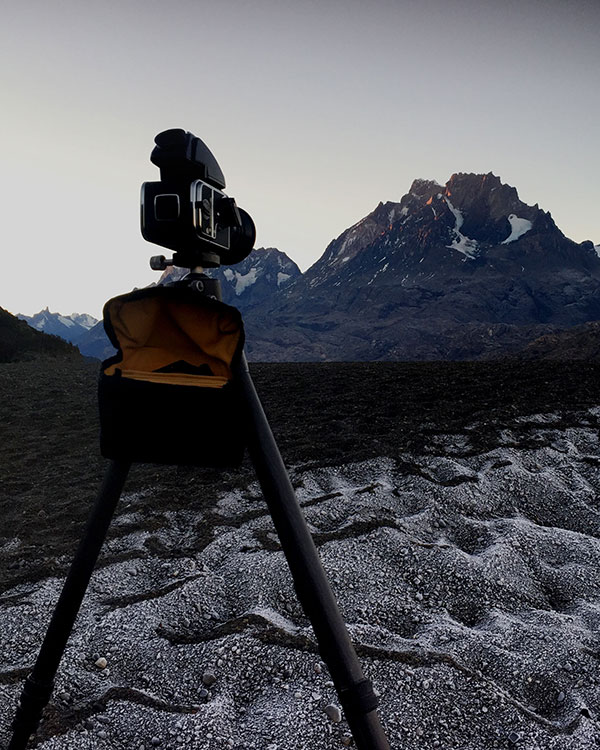 Image showing my Hasselblad camera set up on location for the Lago Grey shot.