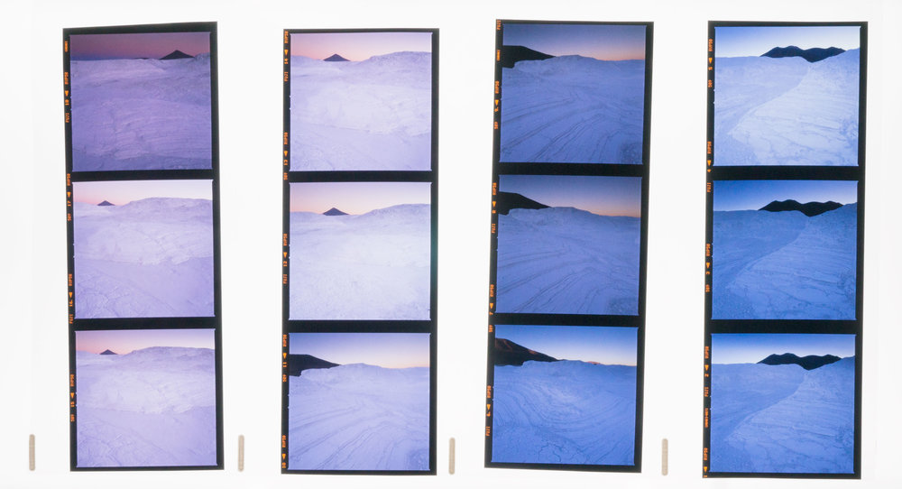 A roll of processed 120 Velvia film, showing you the chronological sequence that the images were shot in.