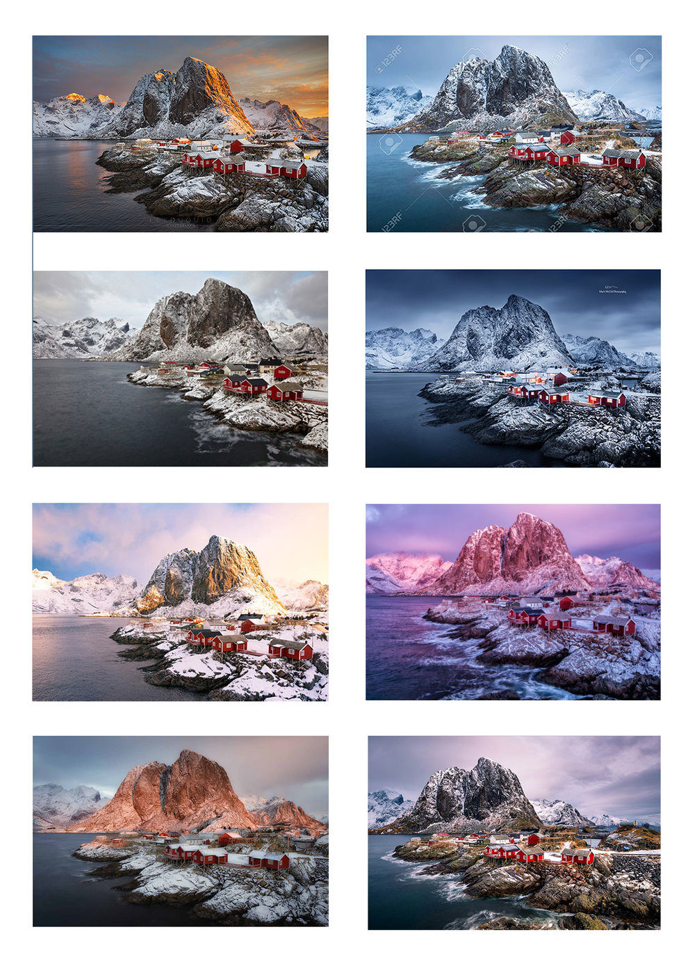 eight different photographers, eight different 'cover's of a well known composition.