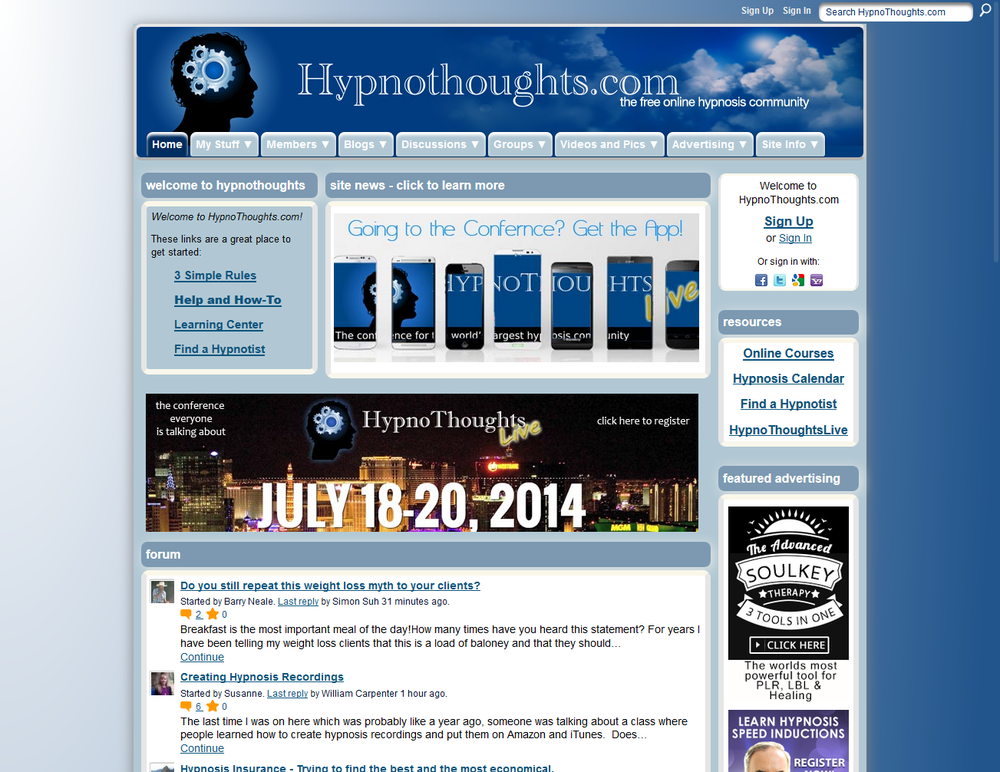 HypnoThoughts Hypnosis Community - Ning platform