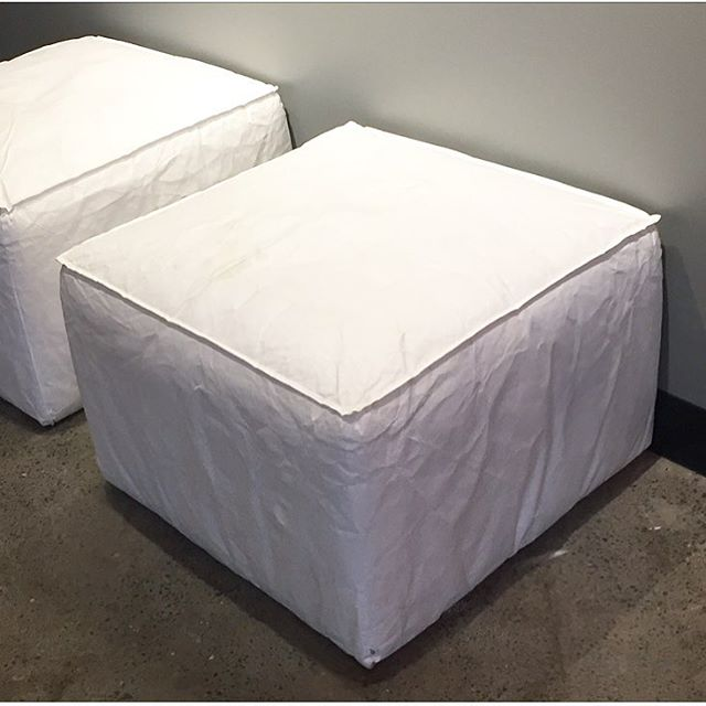 Double Your Pleasure. Double Your Fun. . . . #pouf #poufottoman #tyvek #white #relax #whileyouwait . #ottoman