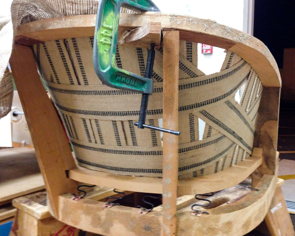 Webbing is commonly used as the foundational support on the back and sides of a chair.