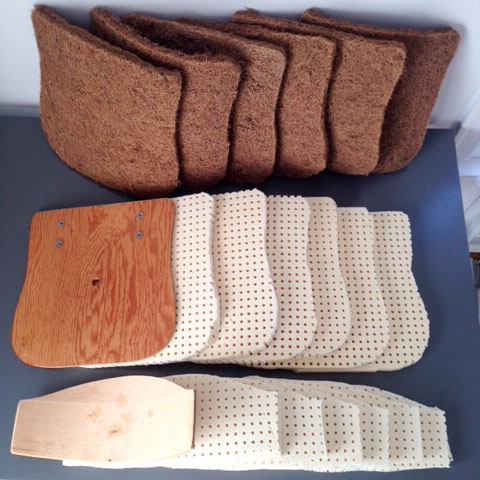 See that wood base on the middle left?  Rubberized coconut coir is the secret to getting plop worthy cushioning.
