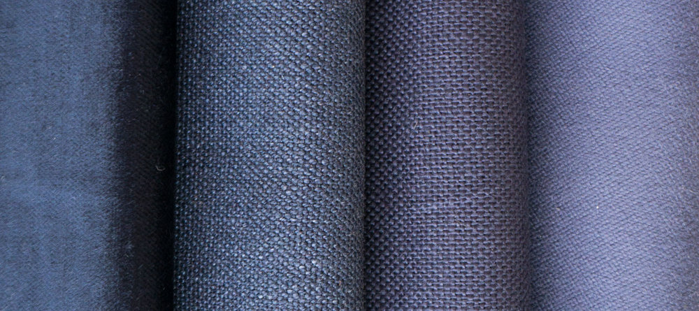 The look of different fibers and woven textues (left to right):  Rayon velveteen, cotton canvas, linen/cotton, sueded polyester.