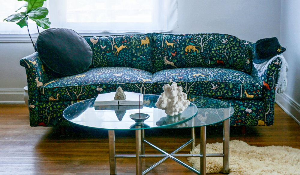 Our Critter Pattern Love Seat requests your attention with it's exquisite cotton print.  Click through to order one today!