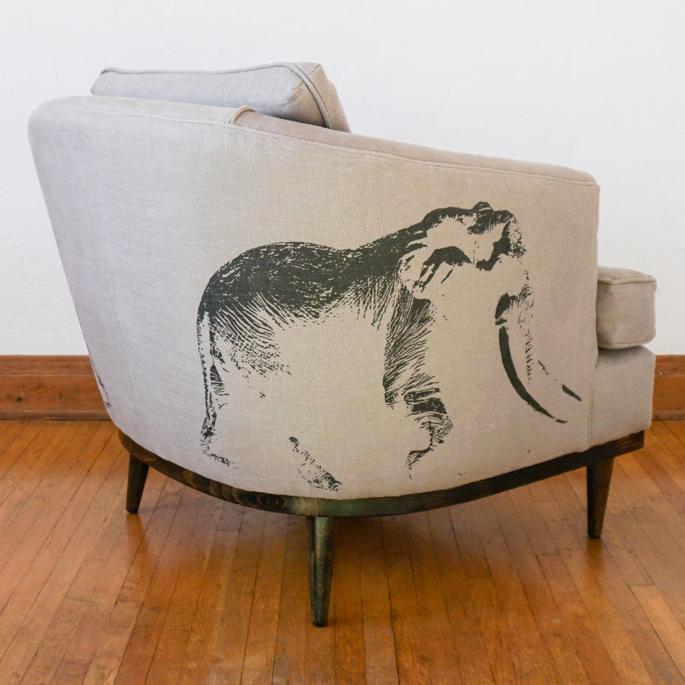 The  Ghost of Satao Arm Chair  commemorates Satao, one of Kenya's largest elephants, who was poached in June 2014 with a poison arrow.  Click through to view more.