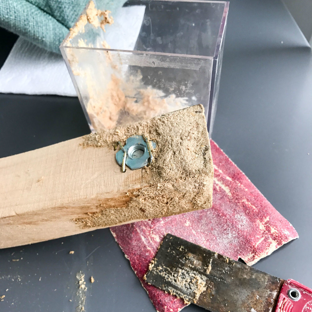 Layer of sawdust and wood glue.