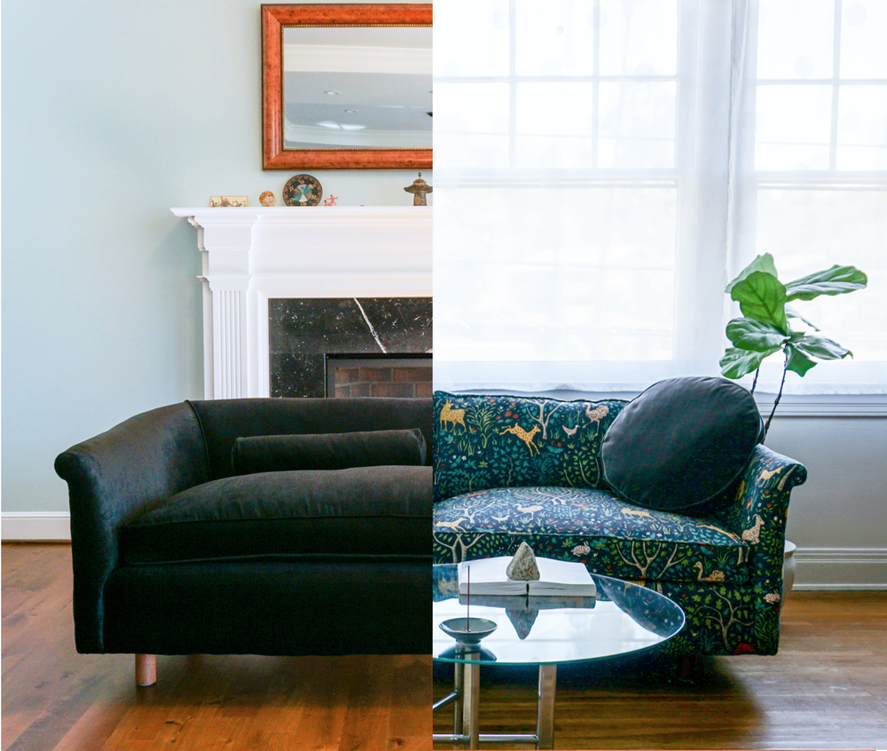 On the LEFT, round lumbar pillow filled with natural shredded latex is supportive. On the RIGHT, the critter pattern back couch cushion and the black circle pillow, are both filled with full bodied feathers.
