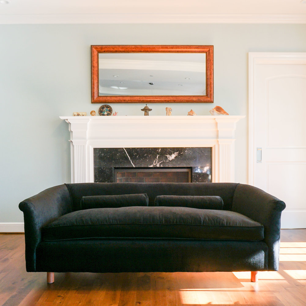 "Client's custom black velvet couch, 71""W x 31 1/2"" D x 25"" H.   Click through to view all Custom Made styles."