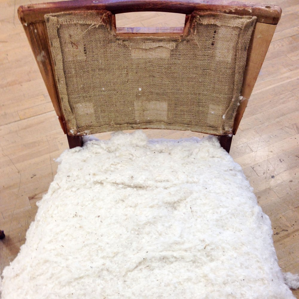 The Chair Restoration Process:  Part Two, Green Upholstery - Explore the fabric and cushion layers not usually seen underneath the final outer fabric.