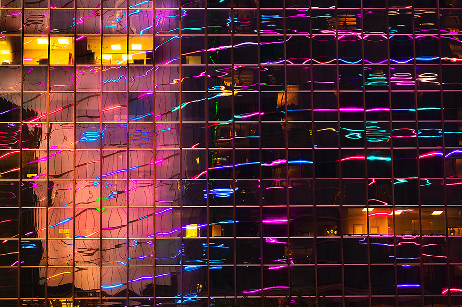 Neon Reflected on Office Building © Eric Meola 2013