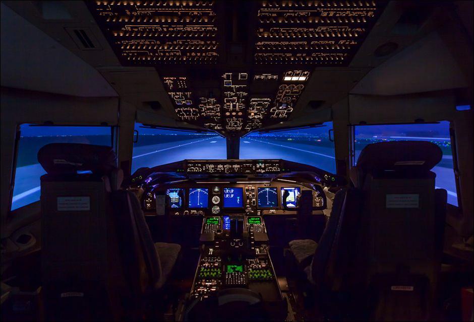Cockpit of a Boeing 767-400ER flight simulator, built by CAE in Canada. Created at the Delta Training Facility in Atlanta, Georgia.©John Slemp