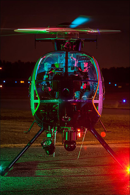MD-500E helicopteroperated by the Gwinnett County Police on the ramp at Briscoe Field (LZU) in Lawrenceville, Georgia. Created for my portfolio. ©2012 John Slemp