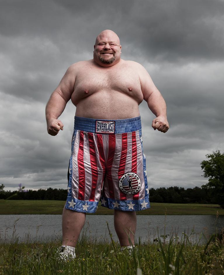 """Former heavyweight boxer, kickboxer, and MMA fighter Eric """"Butterbean"""" Esch near Jasper, Alabama on Friday, 4/19/2013. © Robert Seale"""